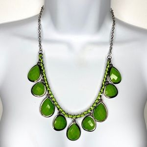 Jewelry - FREE w/Purchase Silver Tn Green Statement Necklace